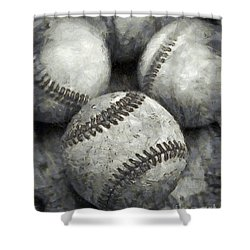Old Baseballs Pencil Shower Curtain by Edward Fielding