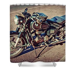 Old Beamer Motorcycle Shower Curtain