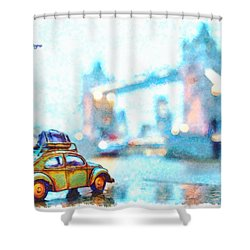Old Beetle Visiting London - Da Shower Curtain
