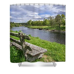 Old Bench Along Spey River, Scotland Shower Curtain