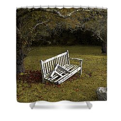 Old Benches Shower Curtain by Alex Galkin