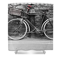 Old Bicycle Shower Curtain by Helen Northcott