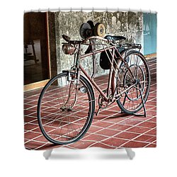 Shower Curtain featuring the photograph Old Bicycle In The Monastery Of Santo Estevo De Ribas Del Sil by Eduardo Jose Accorinti