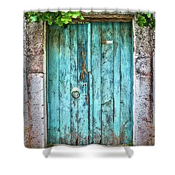 Old Blue Door Shower Curtain by Delphimages Photo Creations