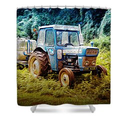 Old Blue Ford Tractor Shower Curtain