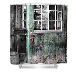 Rustic Blue - Green Door  Shower Curtain