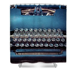 Shower Curtain featuring the photograph Old Blue Typewriter by Edward Fielding