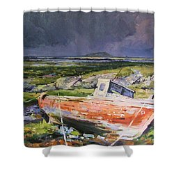 Old Boat On Shore Shower Curtain by Conor McGuire