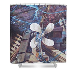 Old Boat Propeller Shower Curtain by Martin Davey