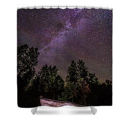 Old Boat Under The Stars Shower Curtain