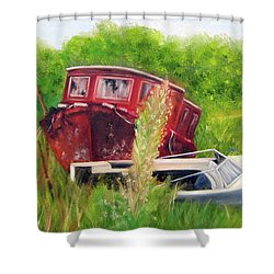 old boats in Belford Shower Curtain