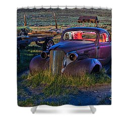 Old Bodie Car By Moonlight Shower Curtain