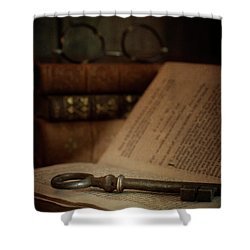 Old Book With Key Shower Curtain