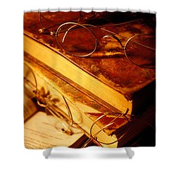 Old Books And Glasses Shower Curtain by Garry Gay