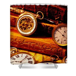 Old Books And Pocket Watches Shower Curtain by Garry Gay