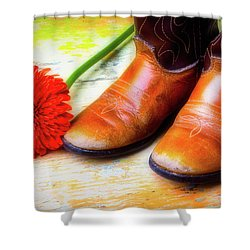 Old Boots And Daisy Shower Curtain by Garry Gay