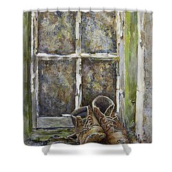 Old Boots Shower Curtain by Marty Garland