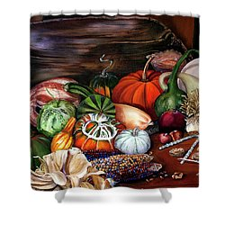 Old Bowl Cornucopia Shower Curtain