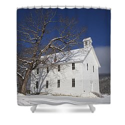 Shower Curtain featuring the photograph Old Boxley Community Building And Church In Winter by Michael Dougherty