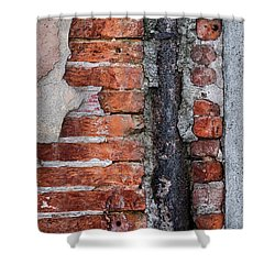 Shower Curtain featuring the photograph Old Brick Wall Fragment by Elena Elisseeva