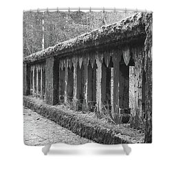 Old Bridge In Black And White Shower Curtain by Angi Parks