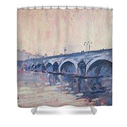 Old Bridge Of Maastricht In Warm Diffuse Autumn Light Shower Curtain by Nop Briex