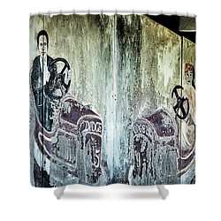 Shower Curtain featuring the photograph Old Bumper Car Mural by Stuart Litoff