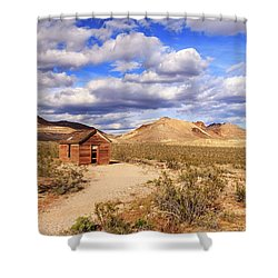 Shower Curtain featuring the photograph Old Cabin At Rhyolite by James Eddy