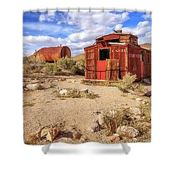 Shower Curtain featuring the photograph Old Caboose At Rhyolite by James Eddy