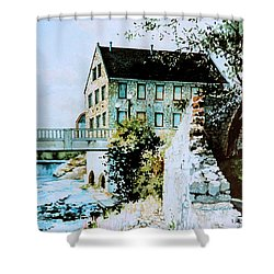 Old Cambridge Mill Shower Curtain by Hanne Lore Koehler