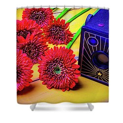 Old Camera And Dasies Shower Curtain by Garry Gay