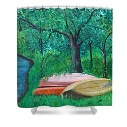 Old Canoes Shower Curtain