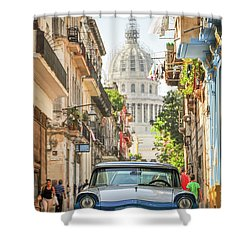Old Car And El Capitolio Shower Curtain