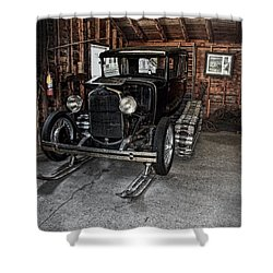 Old Car Snow Ski Shower Curtain