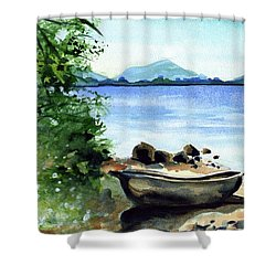 Shower Curtain featuring the painting Old Carved Boat At Lake Malawi by Dora Hathazi Mendes