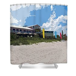 Old Casino On An Atlantic Ocean Beach In Florida Shower Curtain by Allan  Hughes