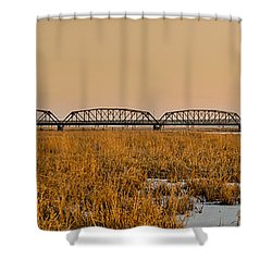 Old Cedar Road Bridge Shower Curtain by Roderick Bley