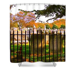 Old Cemetary In Newport Rhode Island Shower Curtain by Becky Lupe