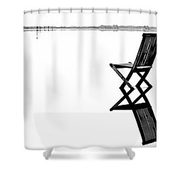 Shower Curtain featuring the photograph Old Chair In Calm Water by Gert Lavsen