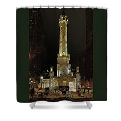 Old Chicago Water Tower Shower Curtain by Alan Toepfer