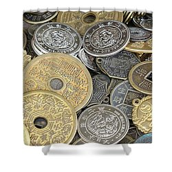 Old Chinese Coins And Money Shower Curtain by Yali Shi