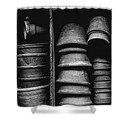 Shower Curtain featuring the photograph Old Clay Pots by Edward Fielding