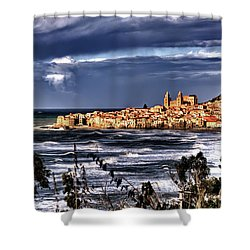 Old Coastal City  Shower Curtain
