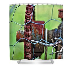 Old Cog Wheel Shower Curtain by Kaye Menner