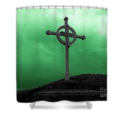 Old Cross - Green Sky Shower Curtain