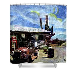 Old Desert Gas Station Shower Curtain