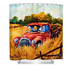 Shower Curtain featuring the painting Old Friend by Igor Postash