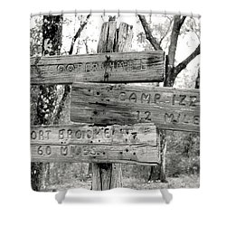 Shower Curtain featuring the photograph Old Directional Signs At Fort Cooper  by Debra Forand