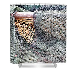 Shower Curtain featuring the photograph Old Discarded Fishing Nets by Yali Shi