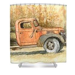 Old Dodge Truck In Autumn Shower Curtain